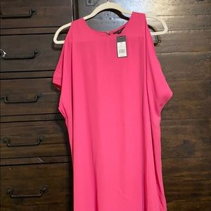 Hot pink cold shoulder dress